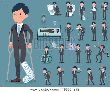 Flat Type Gray Suit Businessman_sickness