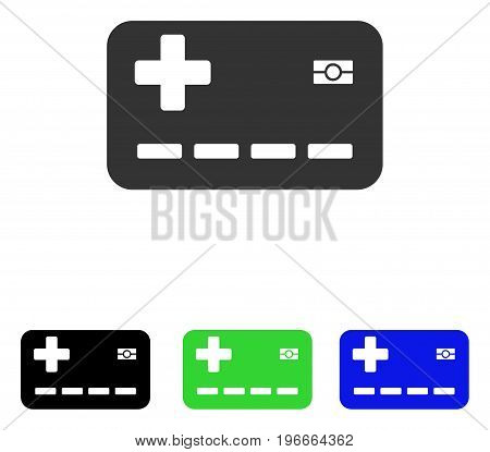 Medical Insurance Card vector icon. Illustration style is a flat iconic colored symbol with different color versions.