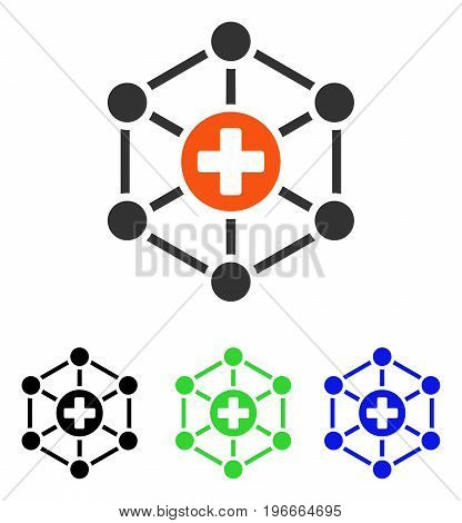 Medical Network vector pictograph. Illustration style is a flat iconic colored symbol with different color versions.