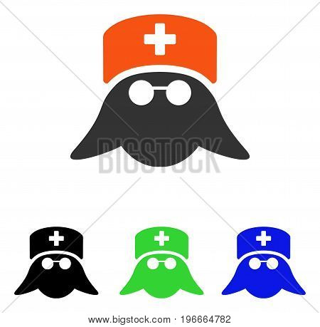 Medical Nurse Head vector pictograph. Illustration style is a flat iconic colored symbol with different color versions.