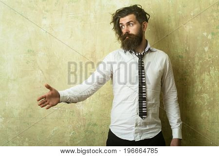 Hipster In Shirt And Musical Tie.