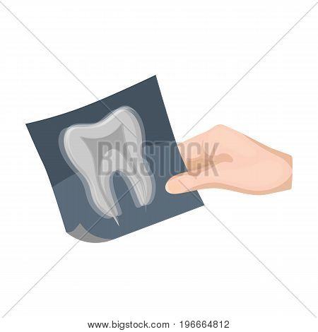 X-ray of the tooth in the hand of the dentist. Stomatology single icon in cartoon style vector symbol stock illustration .