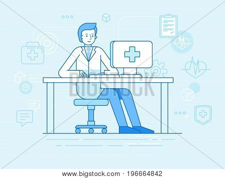Vector Illustration In Linear Flat Style And Blue Colors - Online And Tele Medicine Concept