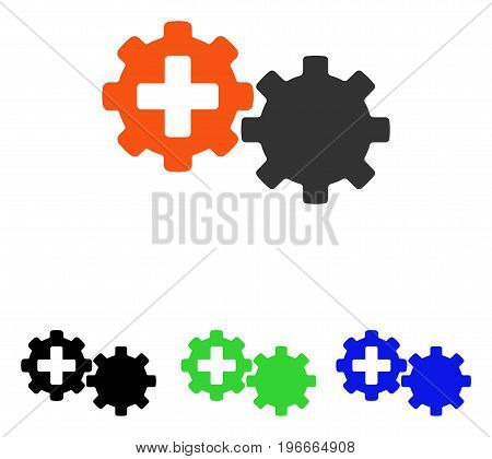 Medical Process Gears vector pictogram. Illustration style is a flat iconic colored symbol with different color versions.