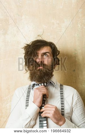 Man With Long Beard And Mustache On Face