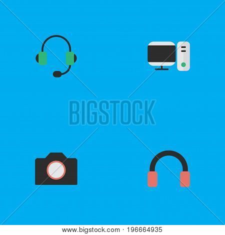 Elements Photo Apparatus, Microphone, PC And Other Synonyms Camera, Apparatus And PC.  Vector Illustration Set Of Simple Gadget Icons.