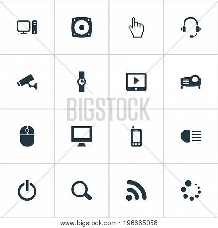 Elements PC, Waiting, Touchpad And Other Synonyms PC, Headsets And Support.  Vector Illustration Set Of Simple Device Icons.