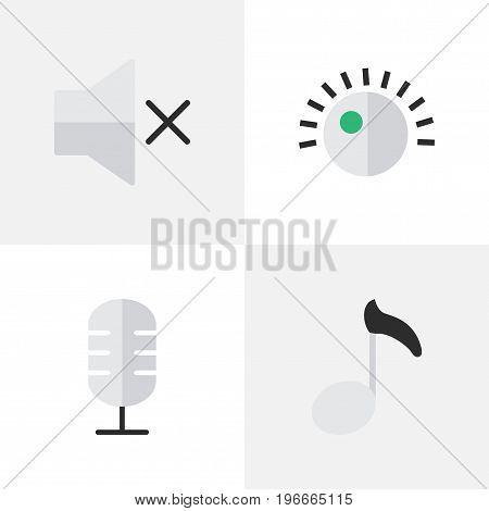 Elements Regulator, Note, Microphone And Other Synonyms Microphone, Sound And Music.  Vector Illustration Set Of Simple Melody Icons.