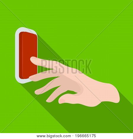 A hand that includes an electric switch. Push Button Switch single icon in flat style vector symbol stock illustration .