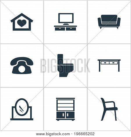 Elements Cupboard, Office Interior, Bathroom And Other Synonyms Chest, Vanity And Telly.  Vector Illustration Set Of Simple Furnishings Icons.