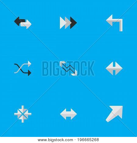 Elements Everyway, Indicator, Arrow And Other Synonyms Left, Inside And Chaotically.  Vector Illustration Set Of Simple Cursor Icons.