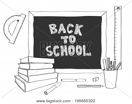 Back to school handdrawing on chalkboard. Books, pencils, Felt-tip pens, rulers, a piece of chalk.