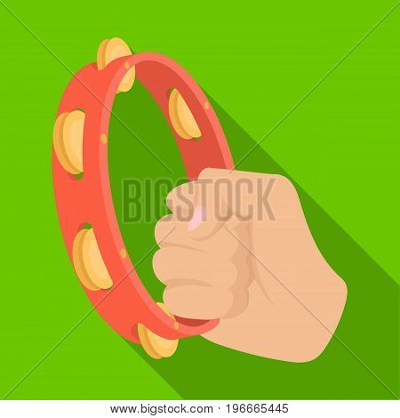 A tambourine that produces a melodic sound. Tambourine in his hand single icon in flat style vector symbol stock illustration .