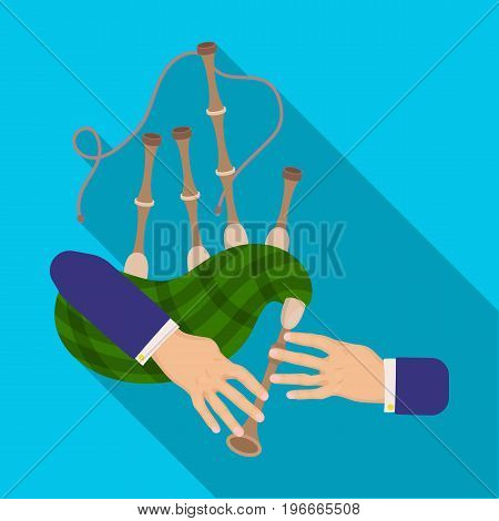 Playing the Scottish national bagpipe instrument. Bagpipe Wind Instruments single icon in flat style vector symbol stock illustration .