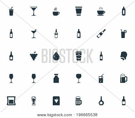 Elements Lager, Vodka, Cappuchino And Other Synonyms Grape, Drinking And Shot.  Vector Illustration Set Of Simple Beverage Icons.