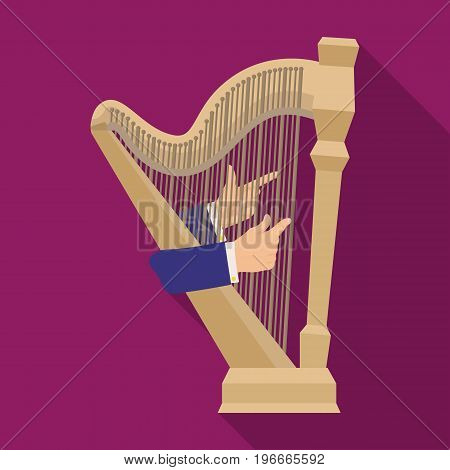Playing the harp stringed musical instrument. Orchestral harp single icon in flat style vector symbol stock illustration .