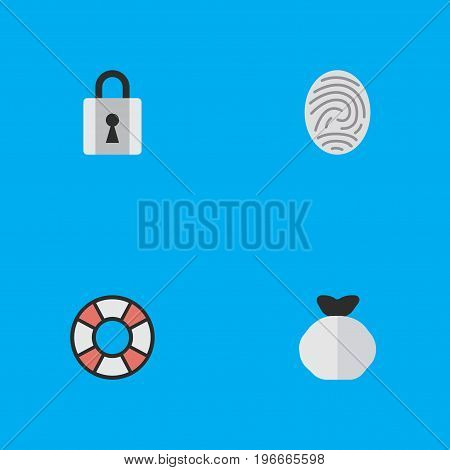 Elements Moneybox, Lifesaver, Bioskyner And Other Synonyms Protection, Money And Lock.  Vector Illustration Set Of Simple Criminal Icons.