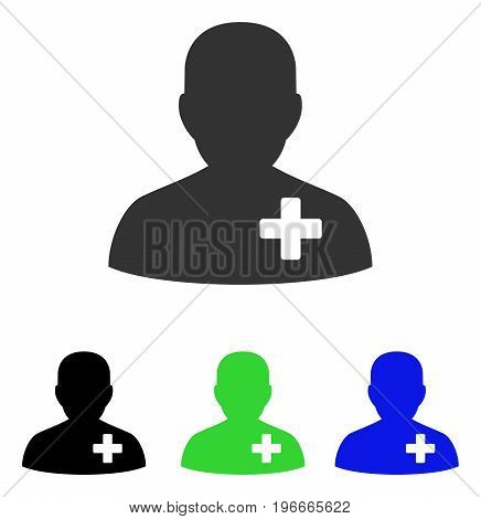 Medical Volunteer vector pictograph. Illustration style is a flat iconic colored symbol with different color versions.