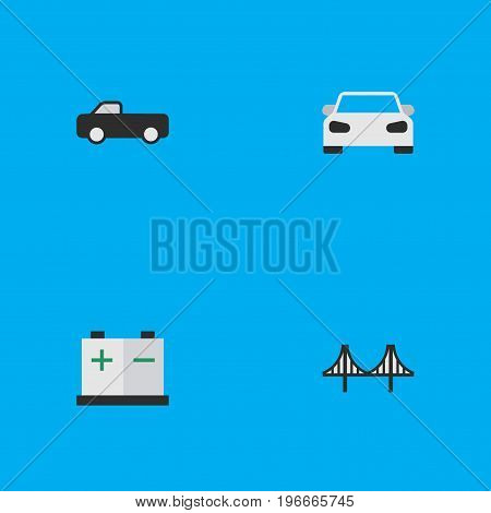 Elements Sport, Bridgework, Accumulator And Other Synonyms Bridge, Bridgework And Suv.  Vector Illustration Set Of Simple Traffic Icons.