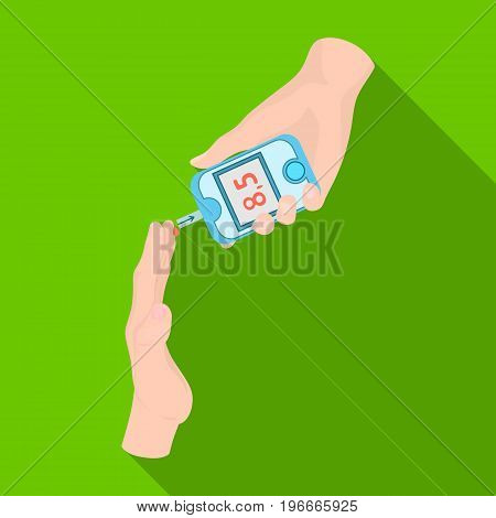 Measuring the level of sugar in the blood of a person with a Glucometer. Medicine single icon in flat style vector symbol stock illustration .