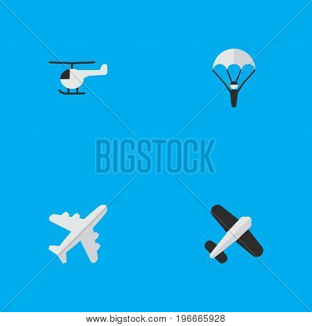 Elements Catapults, Aviation, Aircraft And Other Synonyms Man, Copter And Chopper.  Vector Illustration Set Of Simple Airplane Icons.