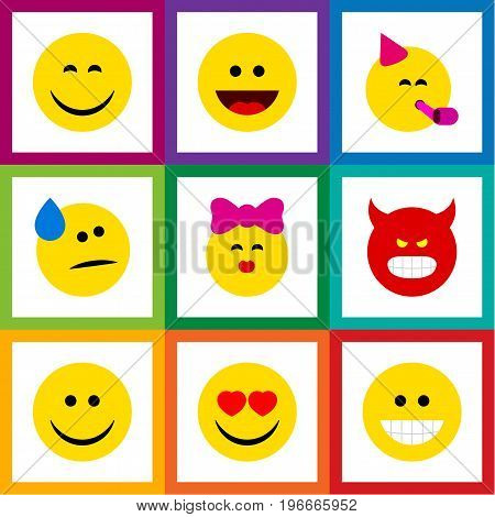 Flat Icon Emoji Set Of Pouting, Party Time Emoticon, Laugh And Other Vector Objects