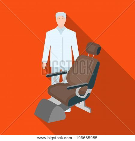The doctor is a dentist in a white dressing gown in the office next to the chair. Medicine single icon in flat style vector symbol stock illustration .