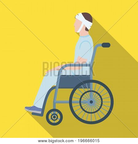 A man with a trauma in a wheelchair. Medicine single icon in flat style vector symbol stock illustration .