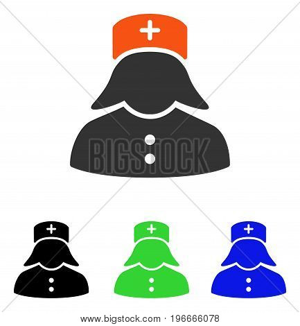 Nurse vector pictograph. Illustration style is a flat iconic colored symbol with different color versions.