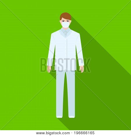 The man is a doctor in uniform and a protective mask. The medicine single icon in flat style vector symbol stock illustration .