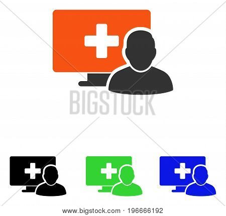 Online Medicine vector icon. Illustration style is a flat iconic colored symbol with different color versions.