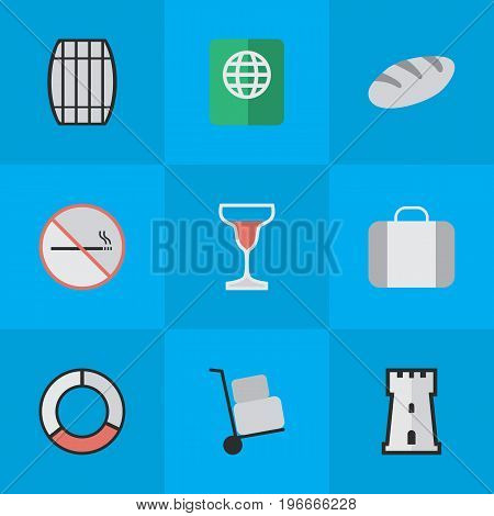 Elements Wine, Bag, Tower And Other Synonyms Bakery, Lifebuoy And Defence.  Vector Illustration Set Of Simple Travel Icons.