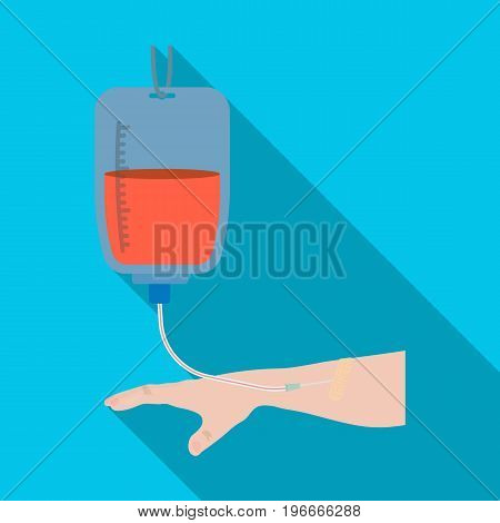 Procedure of blood transfusion. Medicine single icon in flat style vector symbol stock illustration .