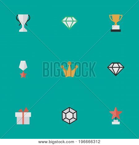 Elements Corona, Present, Champion And Other Synonyms Crown, Coronet And Precious.  Vector Illustration Set Of Simple Champion Icons.