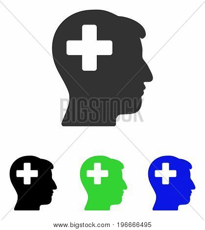 Plus Man Head vector pictogram. Illustration style is a flat iconic colored symbol with different color versions.