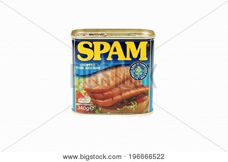 Wrexham United Kingdom - October 15 2014: Spam a brand of canned precooked chopped pork shoulder with ham introduced in 1937 by the Hormel Foods Corporation