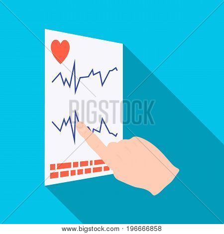 Studying the cardiogram of the heart. Medicine single icon in flat style vector symbol stock illustration .