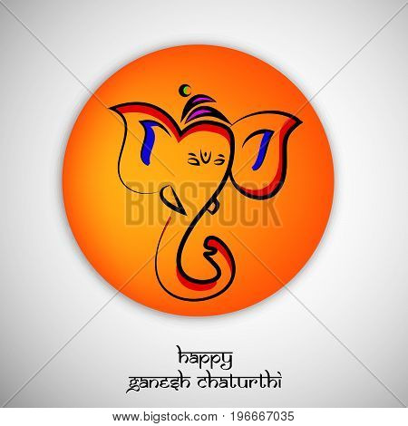 illustration of face of Hindu God Ganesh on button background with happy Ganesh Chaturthi text on the occasion of Hindu Festival Ganesh Chaturthi