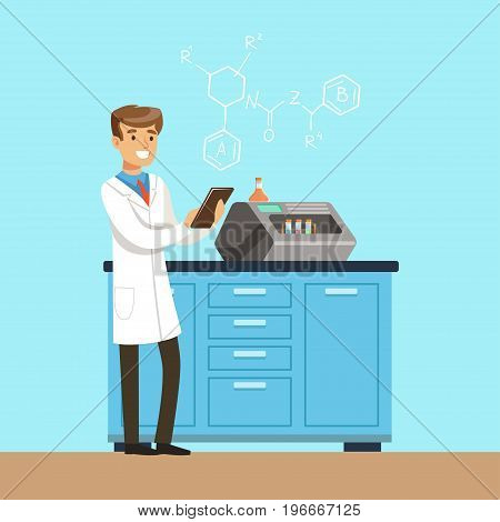 Male scientist conducting research in a laboratory with an reaction chamber, interior of science laboratory, vector Illustration in flat design