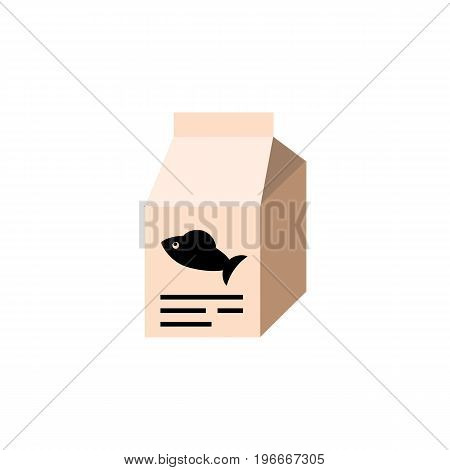 Fish Nutrient Vector Element Can Be Used For Fish, Food, Box Design Concept.  Isolated Feeding Box Flat Icon.