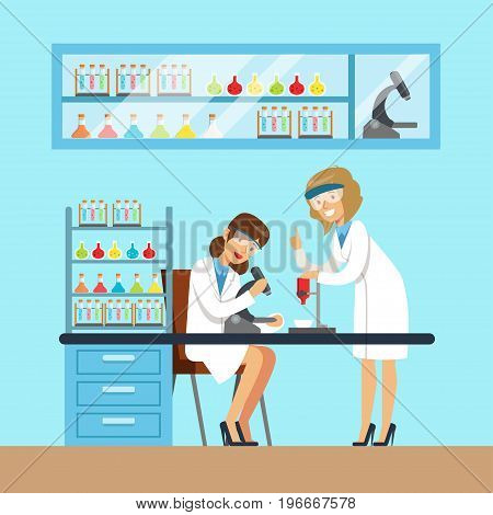 Chemists females testing chemical elements, interior of science laboratory, vector Illustration in flat design