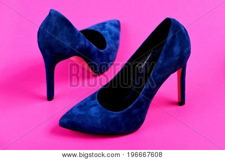 High Heel Footwear Isolated On Magenta Pink Background