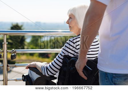 Graceful maturity. Pretty wise senior woman sitting in a wheelchair and enjoying the view of the city while being accompanied by a volunteer