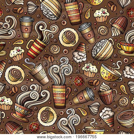 Cartoon coffee, coffee shop, cafe, tea, sweets seamless pattern. Lots of symbols, objects and elements. Perfect funny vector background.
