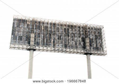 Steel frame billboard isolate on white background