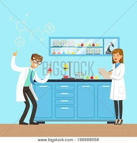Chemists scientists testing chemical elements, interior of science laboratory, vector Illustration in flat design