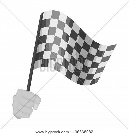 A racing, starting and finishing fluttering flag in his hand. Checkered flag single icon in monochrome style vector symbol stock illustration .