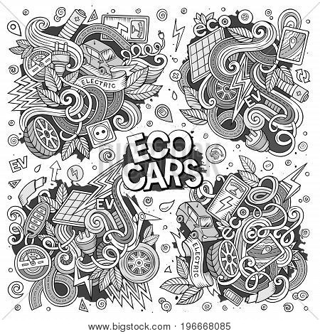 Line art vector hand drawn doodle cartoon set of Electric cars objects and symbol