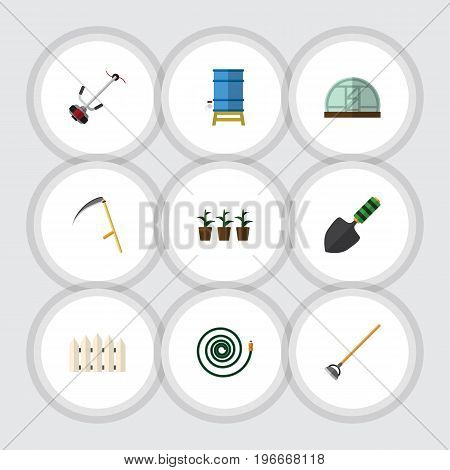 Flat Icon Dacha Set Of Hothouse, Tool, Grass-Cutter And Other Vector Objects