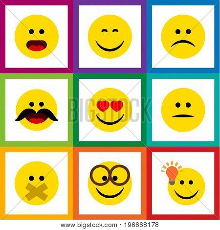 Flat Icon Emoji Set Of Smile, Hush, Sad And Other Vector Objects